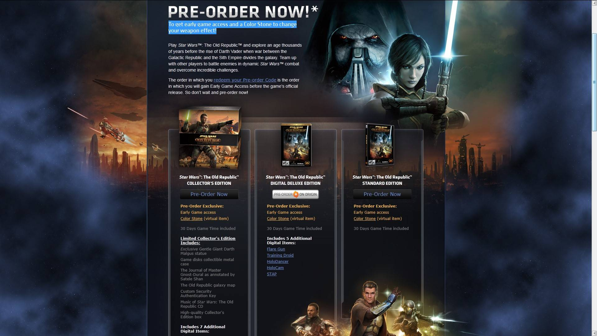 Star Wars The Old Republic Pre Order From Now